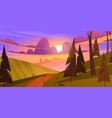 sunset landscape with fields hills and forest vector image