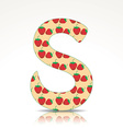 The letter S of the alphabet made of Strawberry vector image vector image