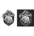 vintage monochrome wild animal badge vector image vector image