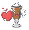 with heart irish coffee mascot cartoon vector image