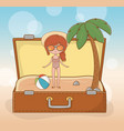 young girl in suitcase on beach scene vector image vector image