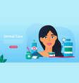 young woman with dental care products vector image