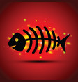 a dead fish on red background vector image