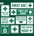 first aid label set vector image