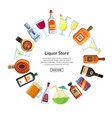 alcoholic drinks in glasses and bottles vector image