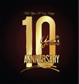 anniversary golden sign 10 years vector image vector image