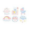 baby shower invitation templates set cute design vector image vector image
