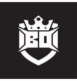 bd logo monogram isolated with shield and crown vector image vector image