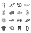 Bicycling icons set gray monochrome style vector image vector image