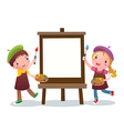Cartoon kids with painting canvas vector image