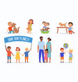 children showing responsibility to family and pets vector image vector image
