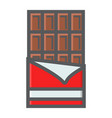 chocolate bar filled outline icon food and drink vector image