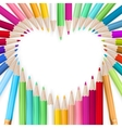 colored pencils heart background eps 10 vector image