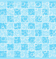 cute baby wallpaper with bubbles on blue bathroom vector image