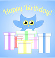 cute blue owl with colored gifts for birthday vector image