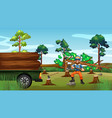 deforestation scene with lumber chopping trees vector image vector image