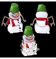 Evil snowman in three poses vector image vector image