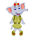 funny elephant cartoon with safari uniform vector image vector image