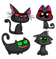 halloween black cats set vector image vector image