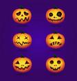 halloween pumpkins in set vector image vector image