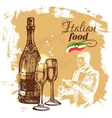 Hand drawn sketch Italian food background
