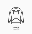 hoodie sweater flat line icon casual apparel vector image