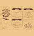 horizontal restaurant or cafe template with vector image vector image