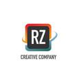 initial letter rz swoosh creative design logo vector image vector image