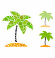 island tropic palm mosaic icon bumpy parts vector image vector image