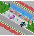 Isometric Car Wash with Vacuum Cleaners vector image
