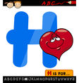letter h with heart cartoon vector image vector image
