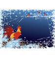 New Year background with cock and bullfinch vector image vector image