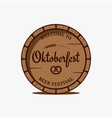 oktoberfest beer barrel logo on white background vector image