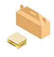 paper lunch box and sandwich vector image vector image