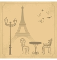 Paris landscape on vintage background vector image vector image