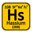 Periodic table element hassium icon vector image vector image