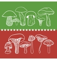 Poisonous toxic mushrooms table on white vector image vector image