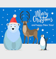 polar bear penguin and reindeer greeting card vector image