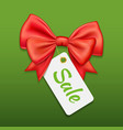 red bow ribbon and tag sale on green vector image vector image