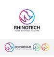 rhino technology logo design vector image