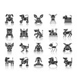 robot dog black silhouette icons set vector image vector image
