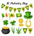 saint patricks day objects flag ireland pot vector image