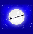santa claus is flying in a sleigh on northern vector image vector image