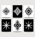 set geometric ethnic black and white flyers vector image