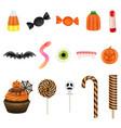 set halloween sweets vector image vector image