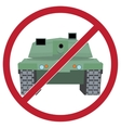 Tank against the background sign ban vector image vector image