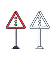 triangular traffic sign with a traffic light icon vector image
