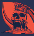 with skull in crown on colored vector image