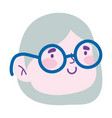 Woman with glasses face cartoon character isolated