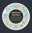 american football banner with line icon of ball vector image vector image